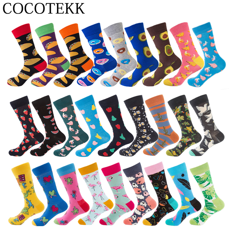 Brand Hight Quality Combed Cotton Men Socks 27Colors Happy Funny Colorful Socks Flamingos Avocado Fruit Socks Designer DIY Socks