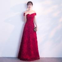 SEXY Boat Neck Chinese Bride Wedding Dress Elegant Floor Length A Line Formal Party Dresses Prom Gowns Vestidos De Festa