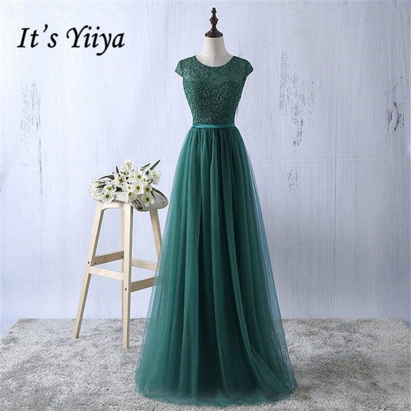 It's YiiYa Elegant Evening Dress Green Gray O-Neck Lace Up Floor Length Tulle A-Line Fashion Designer Formal Dresses MYF083