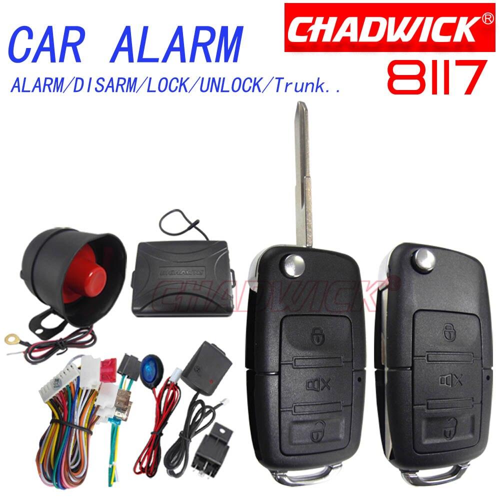Nouveau 8117 CHADWICK pour Volkswagen vw #31 flip key système d'alarme de voiture sirène universelle unidirectionnelle Auto sécurité sans clé entrée polo bora