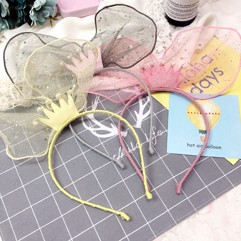 Korea Lace Flower Crown Hair Band Gauze Hair Accessories lovely Embroidery Headband for Girls Hair Band Hair Bow Princess