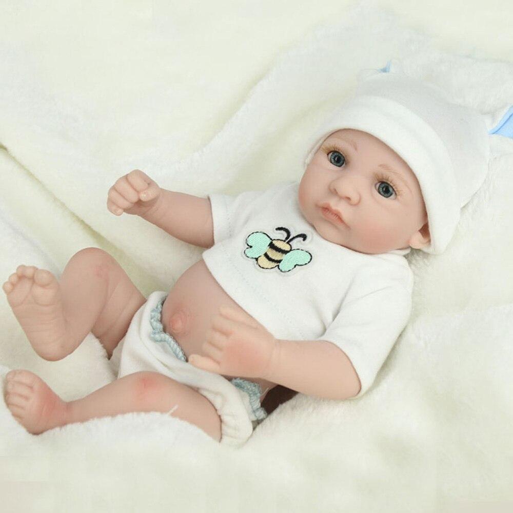 Full-Silicone-Baby-font-b-Doll black friday 10 inch Mini Full Silicone baby Reborn Baby Boy Dolls Soft  Body Drink Doll Realistic Toys Bath Playmate Newborn juguetes