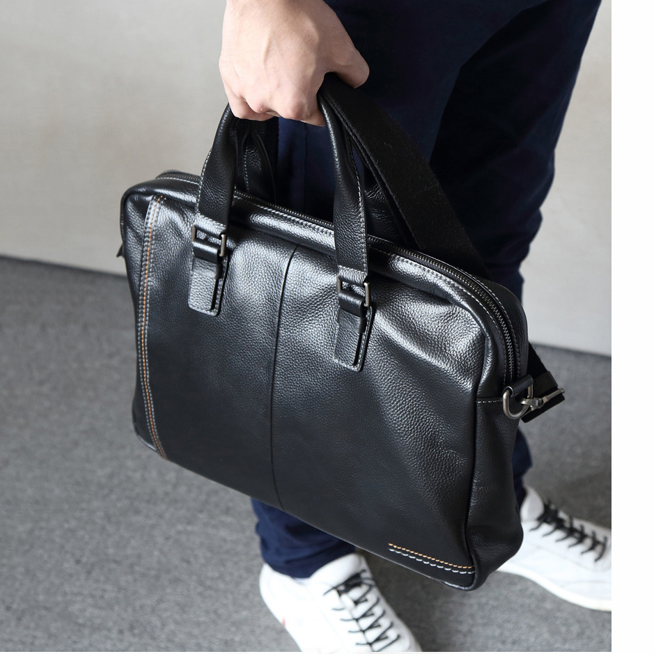 Cowhide Leather Briefcase Mens Genuine Leather Handbags Crossbody Bags Men's Large Capacity Business Bag Men Shoulder Laptop Bag