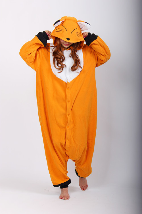 Kigurumi Anime Cosplay Costume Unisex Cartoon Fox Onesie Adult Animal Onesies Pyjamas Sleepwears Romper Jumpsuit