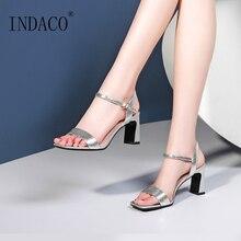 купить Women Sandals Block Heels Sliver High Heel Sandals Open Toe Women Summer Shoes дешево
