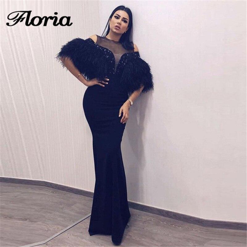 Arabe noir plumes robes de soirée 2018 turc musulman dubaï formelle sirène Robe de bal robes de soirée africaines Robe de soirée