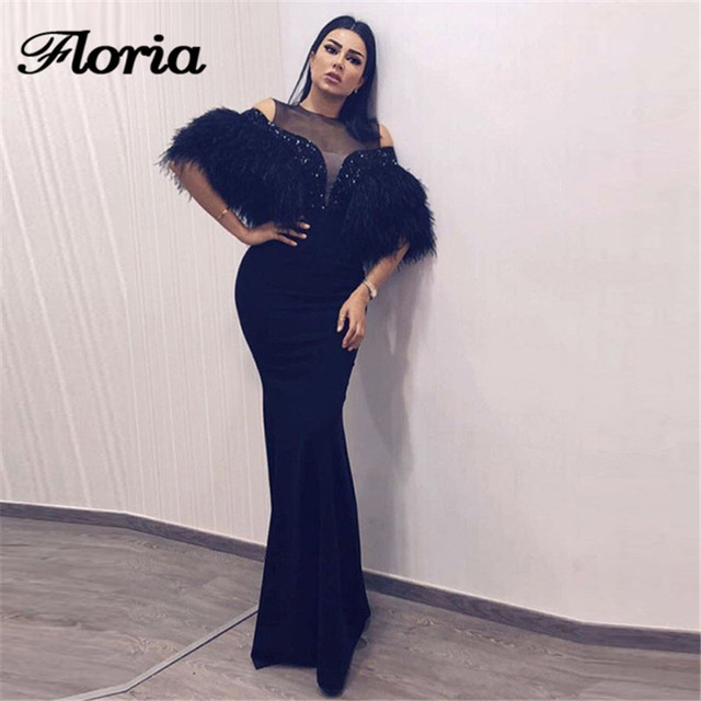 364b03f4b358c US $183.89 29% OFF|Arabic Black Feathers Evening Dresses 2018 Turkish  Muslim Dubai Formal Mermaid Prom Dress African Party Gowns Robe de  soiree-in ...