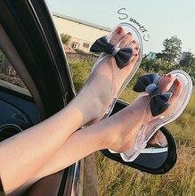 5cada4cf35dca2 Bow Flip-Flops Transparent Shoes Women Flat Slides Sandals Beach Shoes Clear  Waterproof Jelly Thong