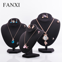 Oirlv Multifunctional Velvet Fabric Dark Color Mannequin Model Necklace Bust Display Stand Ring Earring Display For