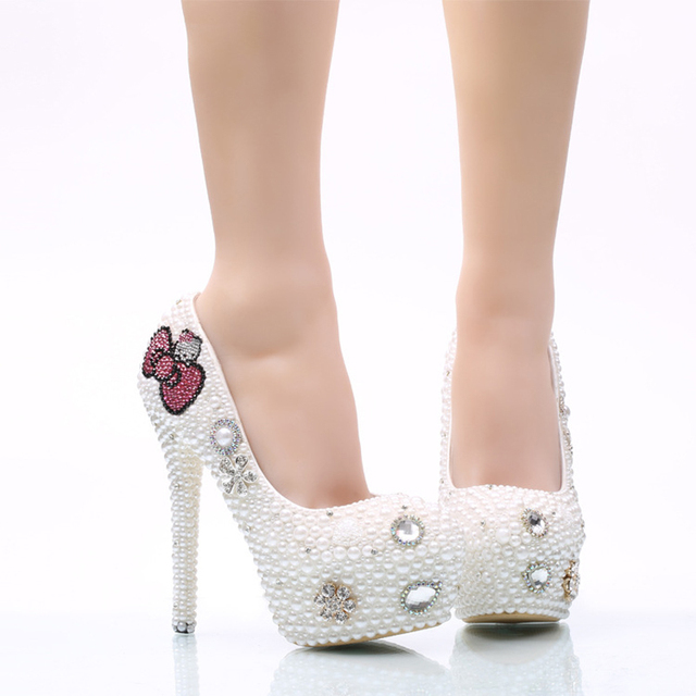 White Pearl Wedding Shoes with Handmade Pink Hello Kitty Rhinestone Wedding Shoes Bridal Pumps 5cm 8cm and 11cm Heel Woman Shoes