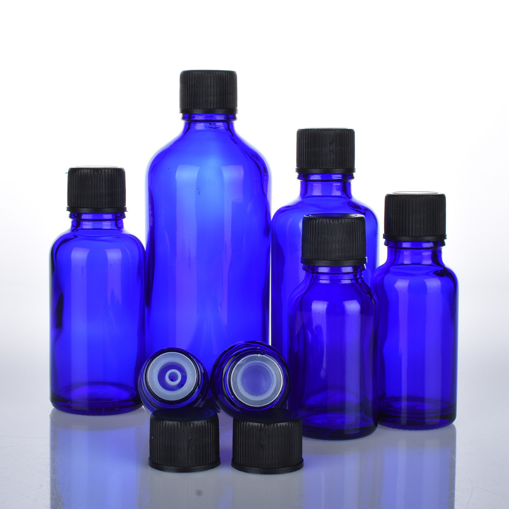 6pcs/lot 100ml 50m 30ml 20ml 15ml 10ml 5ml 1/3oz 1oz Dark Blue Essential Oil Glass Bottles With Black Cap Glass Containers