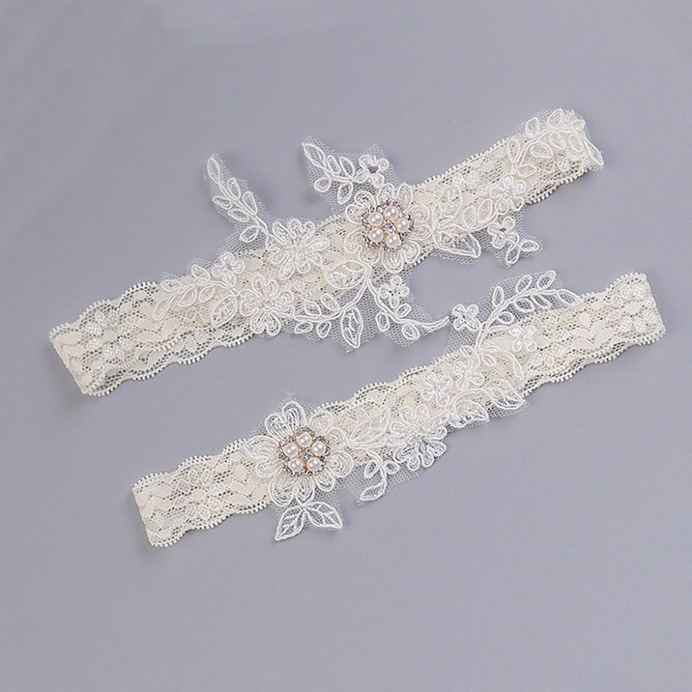 Женское винтажное свадебное Подвязка из искусственного жемчуга с цветочной вышивкой, кружевное свадебное кольцо на бедро