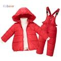 2016 Crianças Meninas Inverno Pato Para Baixo Roupas 2-7 anos Marca Quente Jaqueta Com Capuz + Calça Macacão Terno De Esqui Crianças jaqueta de Roupas