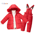 2016 Kids Girls Winter Duck Down Clothes 2-7 years Brand Warm Hooded Jacket +Trousers Overalls Ski Suit Jacket Children Clothing