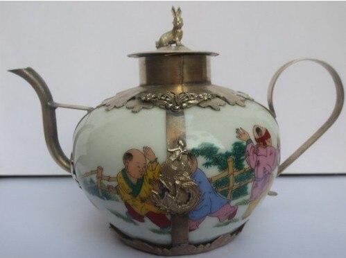 2 шт. Китайский тибетского серебра чайник керамический кувшин доставка Винтаж украшения сада 100% тибетское серебро латунь