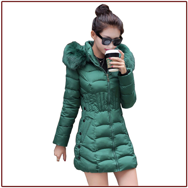 Free shipping 2016 New Parka Woman Black Winter parka Woman coat Jacket Coat Green Multi color winter warm coat with hat