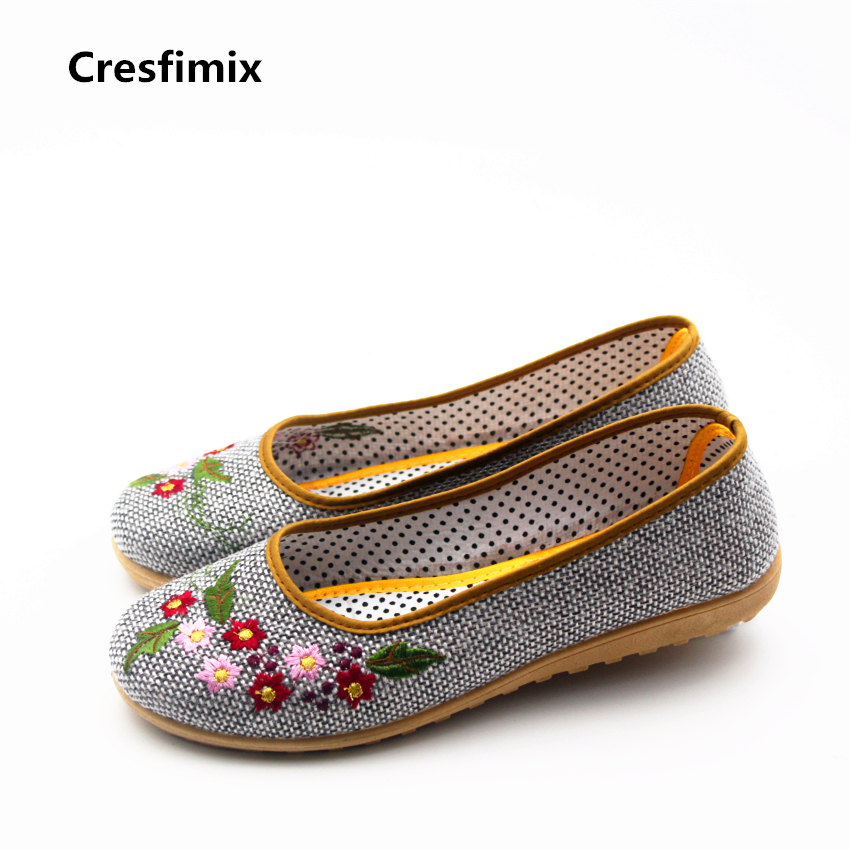 Cresfimix sapatos women fashion floral printed dance shoes female retro street flat loafers lady comfortable stylish shoes a727 new 2017 winter cotton coat women slim outwear medium long padded jacket thick fur hooded wadded warm parkas winterjas cm1634