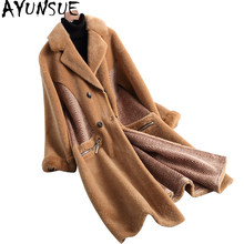 AYUNSUE 2019 New Long Real Wool Fur Coats Warm Winter Coat Women Thick Wool Fur Jacket with Natural Mink Fur Collar 18020 YQ1760(China)