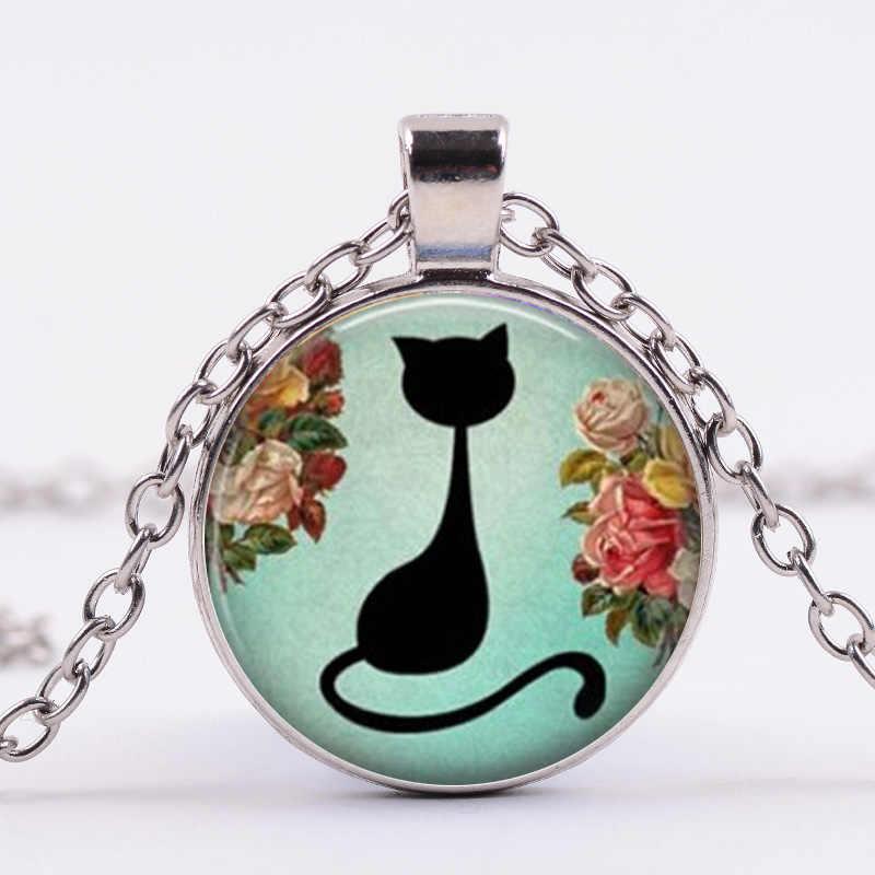 SIAN Đen Mèo Vòng Cổ Vài Đồ Trang Sức Bạc Chuỗi Màu Phim Hoạt Hình Mèo In Glass Cabochon Mặt Dây Chuyền Vòng Cổ cho Phụ Nữ Người Yêu Vật Nuôi