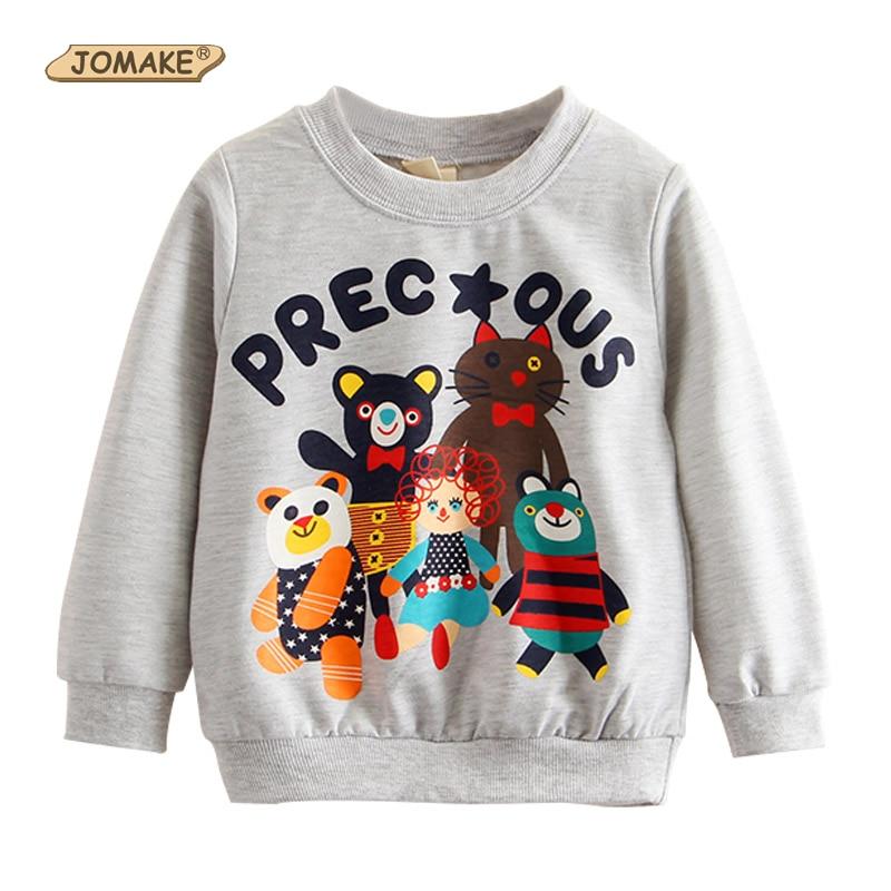 2017 Spring&Autumn Kids Sweatshirts Boys Girls Hoodies Cartoon Animals Pattern Children Tops Pullover New Brand Baby Clothing