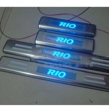 С синий светодиодный светильник из нержавеющей стали скребок/внутренний и внешний створчатый распашный дверь порог для Kia RIO 2010- 4 шт./компл. автозапчасти toyota hilux