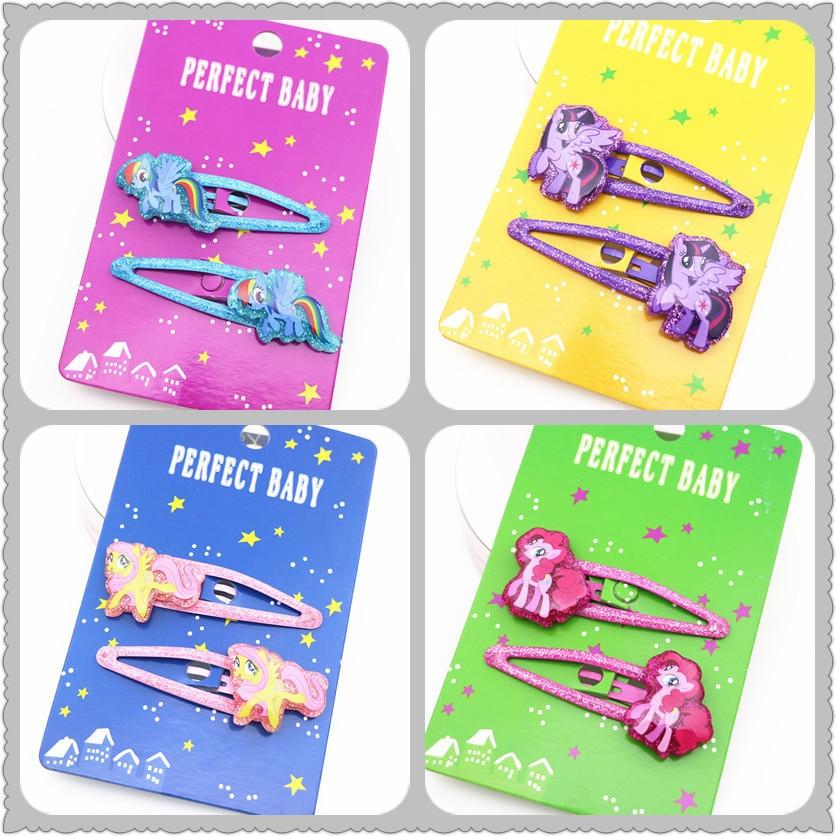 2 PCS New Design Cute Pony Girls Hair Accessories Kids Hairpins Children Headwear Baby Clips Headdress Princess BB Clips