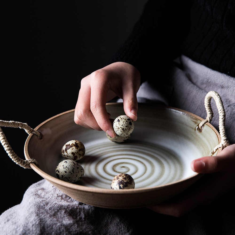 Kinglang Handemade Retro Keramische Servies Soep Platen Met Handvat Slakom Gerecht Zware Super Kwaliteit Plaat