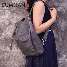 все цены на EUMOAN Brand original genuine leather backpack female travel backpack large patchwork bucket bag cowhide  leather shoulder bag онлайн