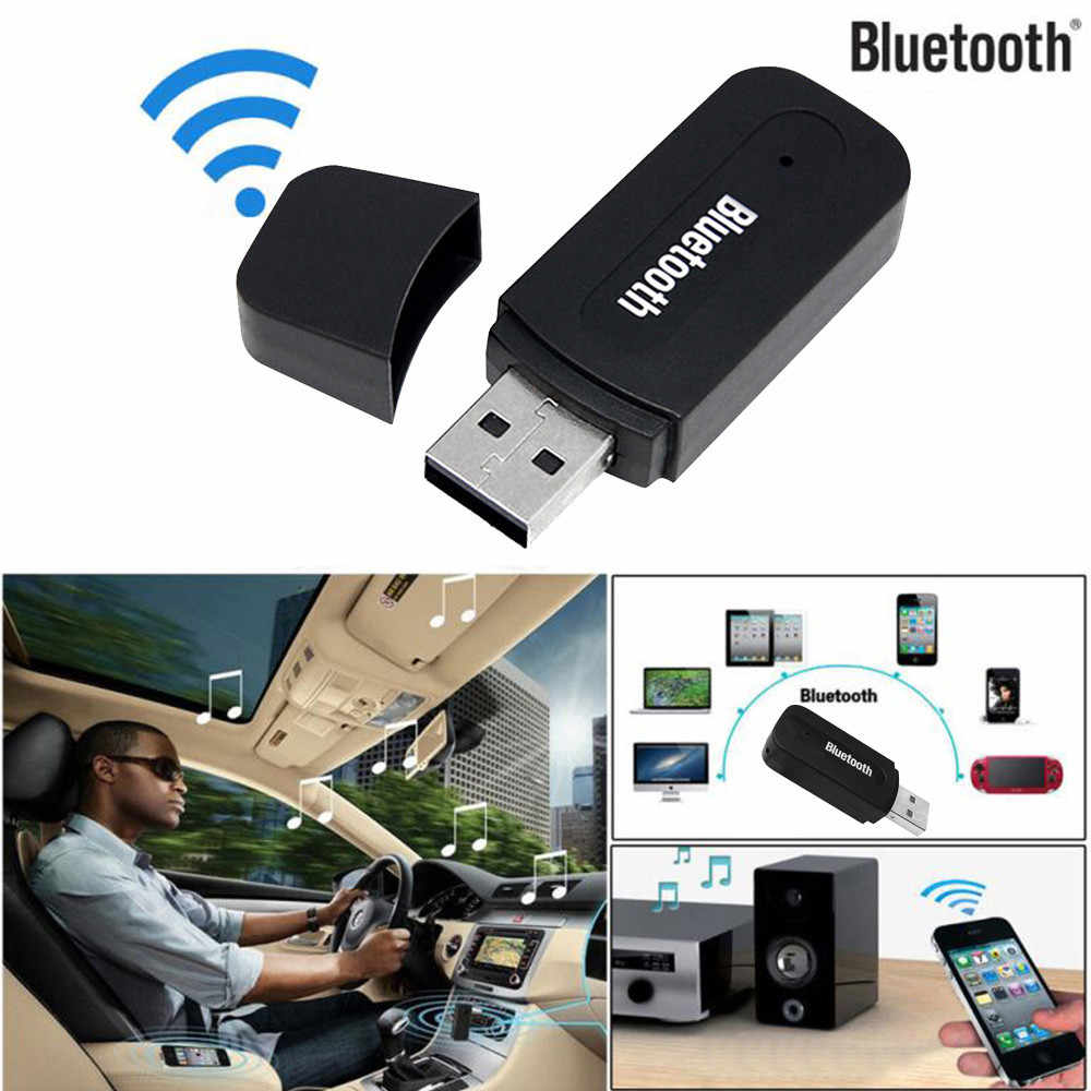 USB Bluetooth Audio Music 3.5mm Car Wireless USB Bluetooth Aux Audio Stereo Music Speaker Receiver Adapter Dongle+Mic For PC