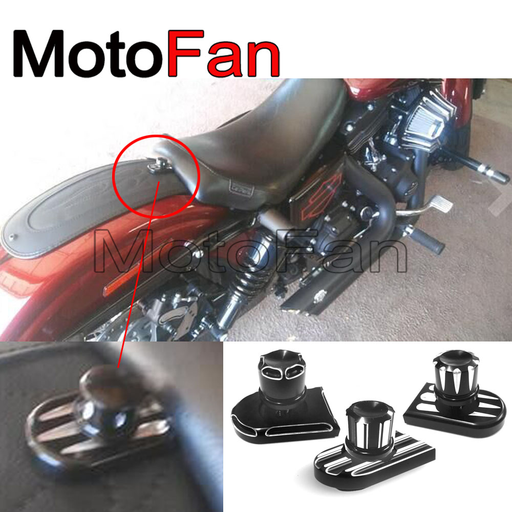Rear Fender Black Seat Bolt Tab Screw Mount Knob Cover For 96-15 Harley Davidson