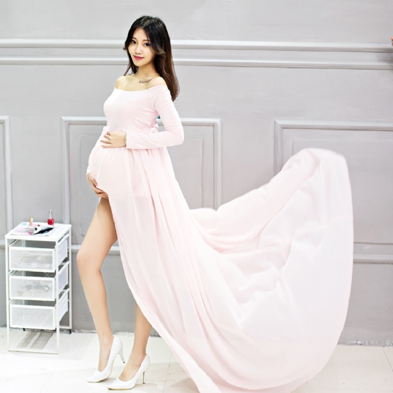 Fashion Maternity Gown Photography Props Long Sleeve Chiffon Dress Pregnant Women Pregnancy Mermaid Photo Shoot Dress Clothes