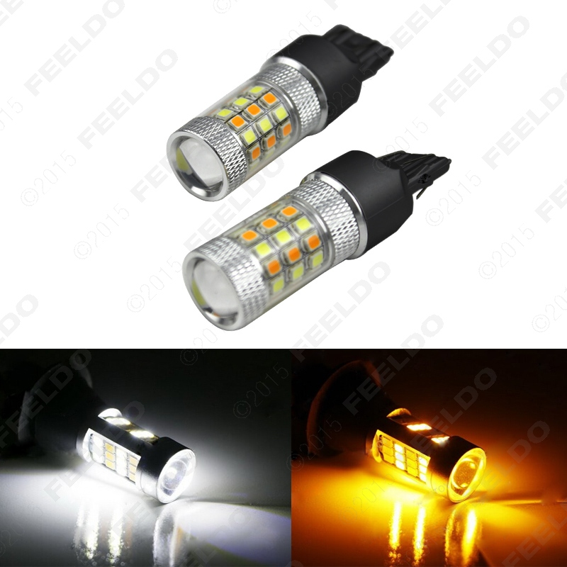 2Pcs Xenon White/Amber No Hyper Flash 7443 2835 Chip 42SMD Switchback LED Bulbs For Front Turn Signal Lights #J-5313 2pcs amber yellow 2835 smd 7443 7440 t20 7444na led bulbs for car led bulbs for front turn signal lights daytime running lights