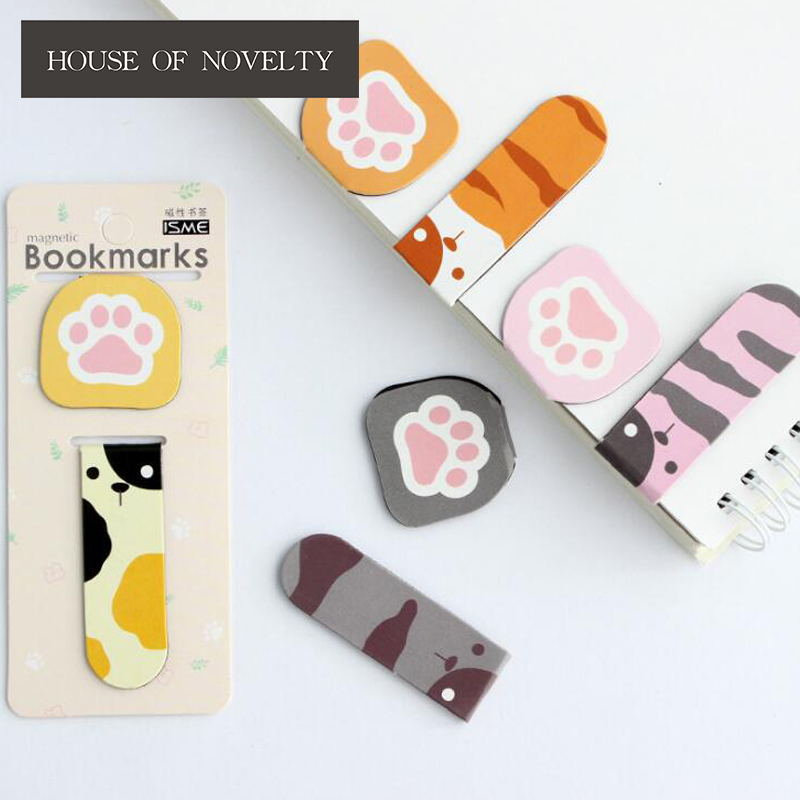 2 Pcs/pack Lovely Bear Footprints Mini Magnet Bookmark Paper Clip School Office Supply Escolar Papelaria Gift Stationery