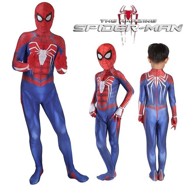 db7d6dd7 Spider-Man PS4 Cosplay Costume Video Game 3D Print Spiderman Full Bodysuit  Halloween Costume For Kids Superhero Fancy Dress
