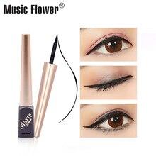 Dropshipping Music Flower Black Matte Eye Liner Super Waterproof Smudge-proof Liqiud Eyeliner Long-lasting Delineador Quick-Dry