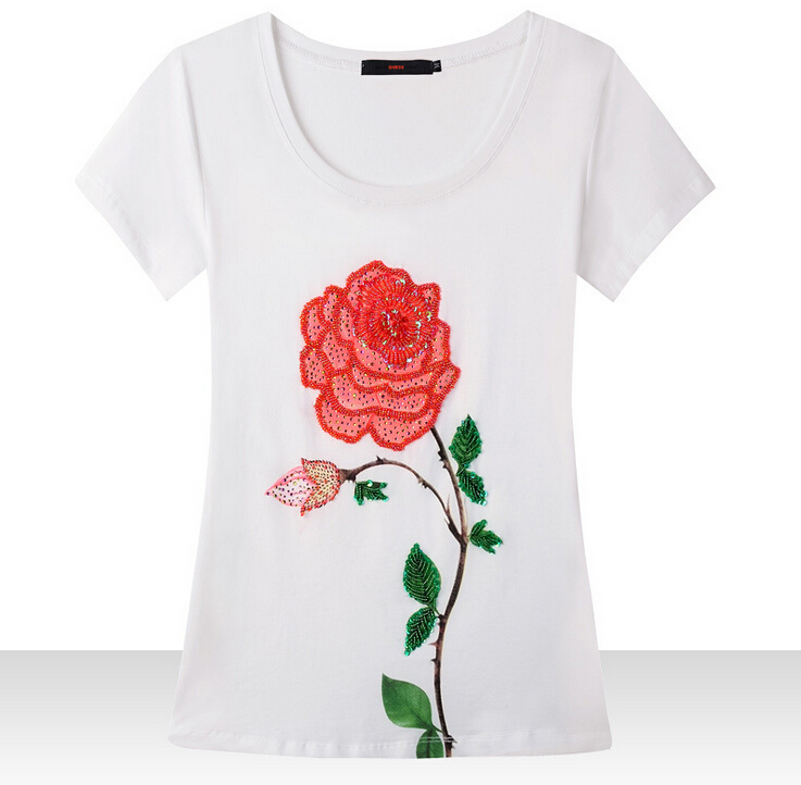2015 handmade luxury roses short sleeve women T shirt summer O-Neck tee tops t-shirt womens - bunny xie fashion items store