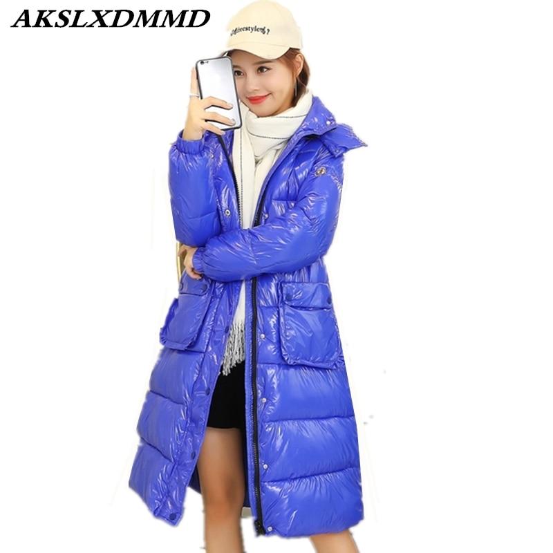 De Cw084 Survêtement Chaleur Mode Hiver Femmes New Solide gray Coton Imperméable white Veste Long Manteau D'hiver Casual red 2018 blue Extérieur Black XqaCw8
