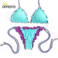 Oiyeefo Sky Blue Solid Halter Bikini Micro Brazilian Biquine Women Beach May Bathers Bathing Suits Female