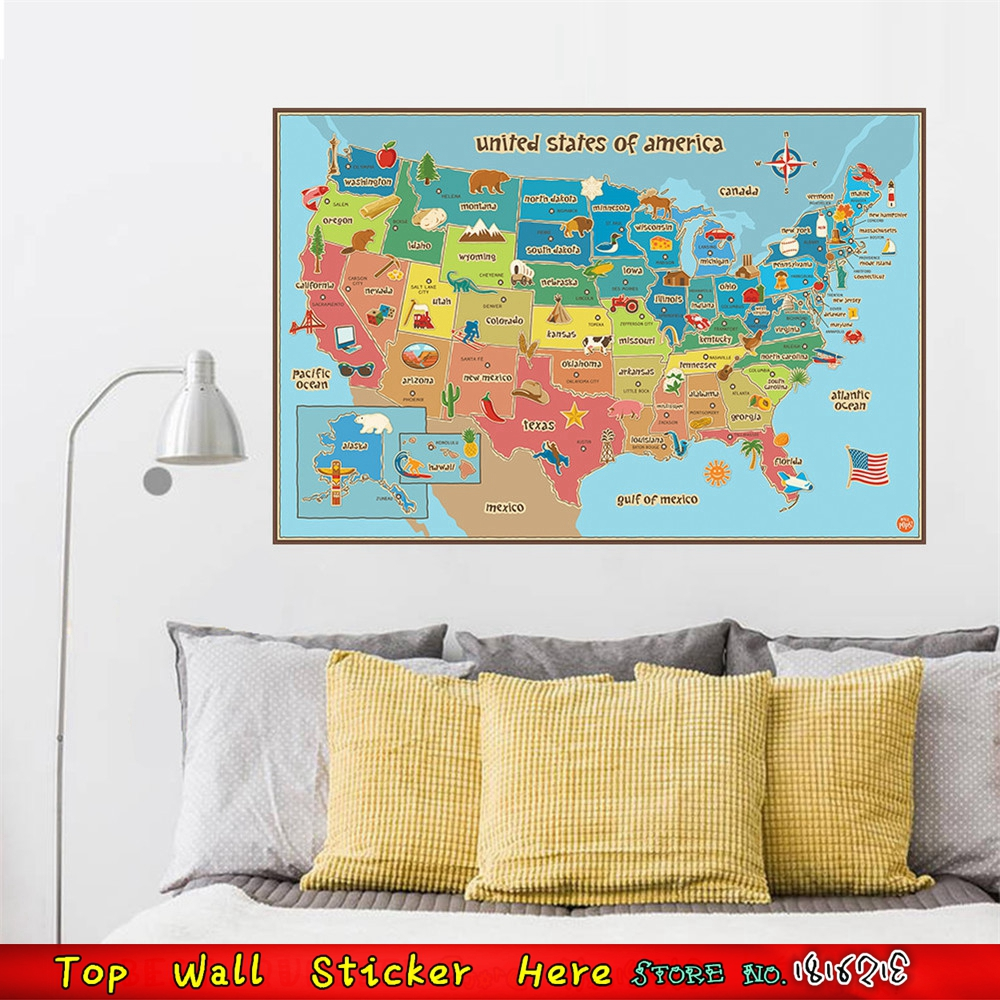 World cup 2018 russia emblem soccer football logo wall car window cartoon united states world map of american usa wall sticker for sticker decal world cup gumiabroncs Images