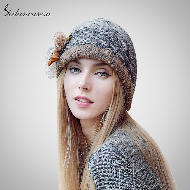 Sedancasesa novo chapéu de balde de outono e inverno feminino venda quente o Tricô Chapéu Boné de Bola Tampão Ocasional Ao Ar Livre Para As Mulheres AA140005B
