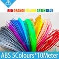 5 rolos/lote 10 M amostras 3D Printer filament ABS 1.75mm 20 cores Para 3D Desenho caneta Caneta Nova Chegada Venda Quente 3D filamento de Impressora