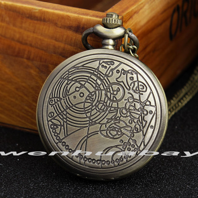 Bronze Doctor Who Style Fashion Quartz Pocket Watch With Necklace Pendant Chain
