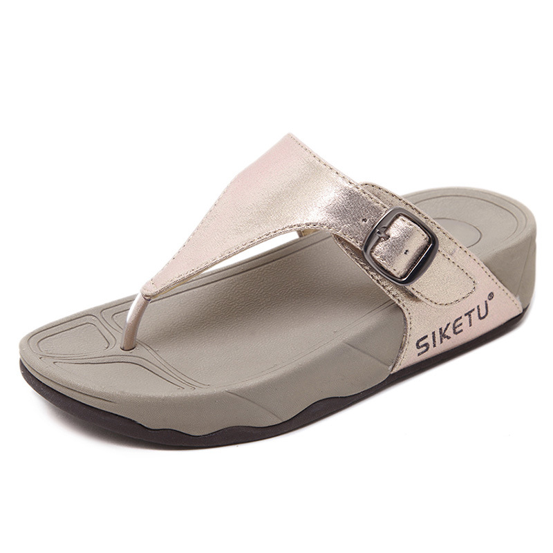 Preppy Style Student Women Slippers Thong T Strap Sandals Thick Bottom Light Sole Platform Wedge Heel Shoes Woman Slides