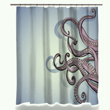 Waterproof 3D Octopus Printed Polyester Bath Shower Curtain Sets Bathroom Carpet Accessories with 12 Plastic Hooks