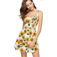 New Bohemia women's 2018 summer fashion sunflower digital print dress vest short dress miniskirt