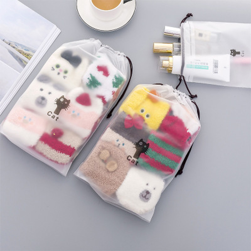 1pcs Cat Storage Bag Stationery Organizer Transparent Matte Desk Supplies Desktop Storage Office Supply School Office Supplies