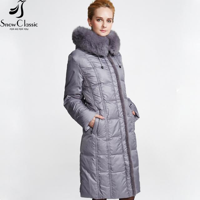 Nieve de Las Mujeres Clásicas de Invierno Chaqueta 2016 Escudo Plus Tamaño 6xl Chaqueta Real Fox Cuello de Piel Down Jacket 12278a