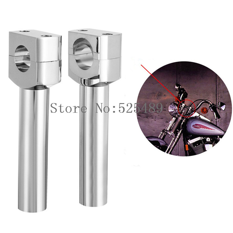 1 Pair Chrome CNC 1 Motorcycle 25mm Handlebar Riser For Honda Suzuki Yamaha Kawasaki Harley Davidson Sportster Chopper Cruisers universal motorcycle handlebar cup holder chrome metal drink for honda kawasaki harley davidson tour dyna sportster fat bob