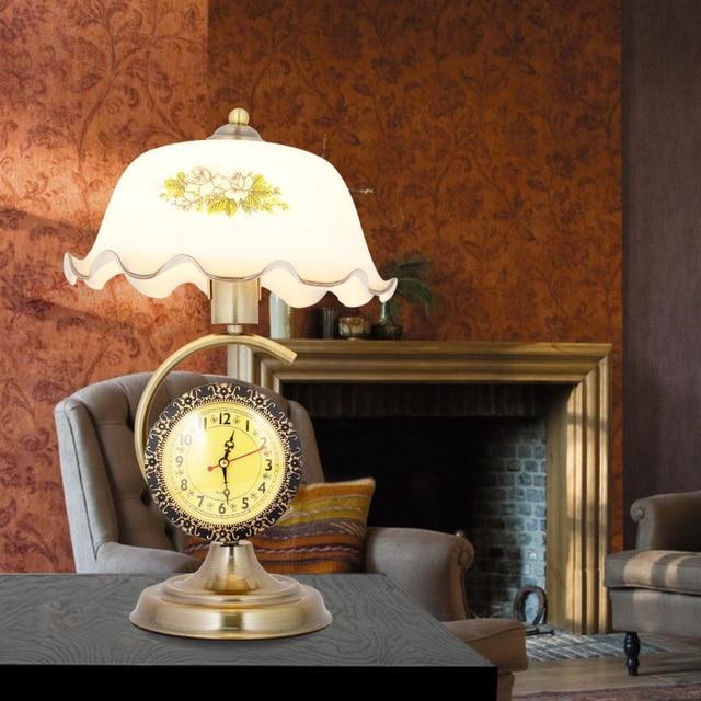 Eisen Glas Drucken ShadeTable Lampen Clock Retro Tischlampen Bett  Nachttisch Lampe Studie Bar Wohnzimmer Dekoration Nostalgischen