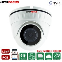 LWSTFOCUS 48V 1 3MP Real POE IP Camera Outdoor Indoor Dome Camera Waterproof Night Vision 960P